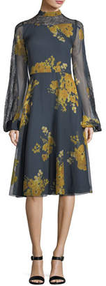 Sachin + Babi Velir Mock-Neck Floral-Print Georgette Dress w/ Lace