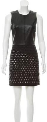 Robert Rodriguez Leather-Paneled Mini Dress