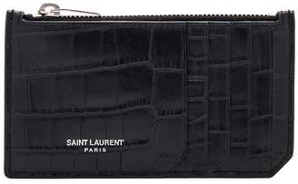 Saint Laurent Matte Croc Zipped Fragments Credit Card Case