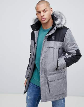 Gym King hooded parka jacket with faux fur hood