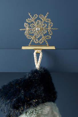 Anthropologie Beaded Snowflake Stocking Holder