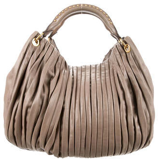 Miu Miu Miu Miu Pleated Leather Hobo