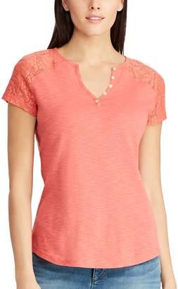 Chaps Women's Lace Sleeve Henley Tee