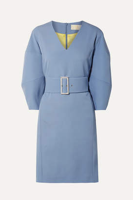 Sara Battaglia Belted Cady Dress - Blue