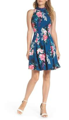 Vince Camuto Textured Floral Scuba Crepe Fit and Flare Dress (Regular and Petite)