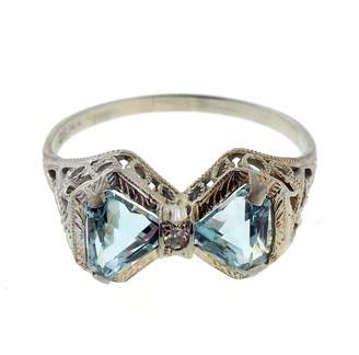14K White Gold 1.00ct Aqua & 0.01ct Diamond Double Triangle Filigree Ring Size 7