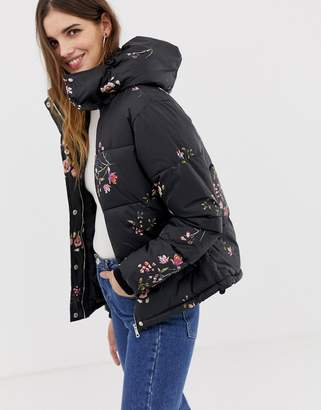 Qed London QED London floral printed padded jacket