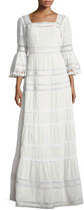 Neiman Marcus Talitha Collection Embroidered Cotton Prairie Maxi Dress, Ivory
