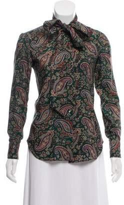 Ralph Lauren Wool Paisley Button-Up Top
