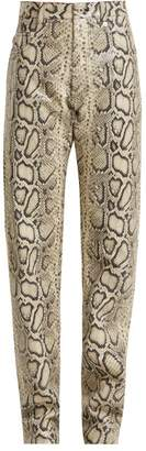 Kwaidan Editions - Python Print Leather Trousers - Womens - Python