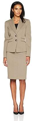 Le Suit Women's Crossdye Melange 2 Button Skirt Suit