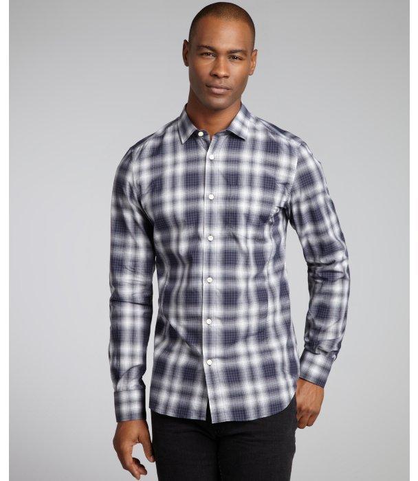 Z Zegna black plaid cotton button front shirt