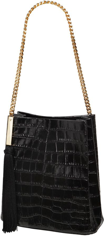 Croc Embossed Patent Leather Bucket Bag