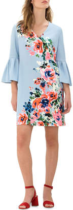 Donna Morgan 3/4-Bell Sleeve Floral Shift Dress