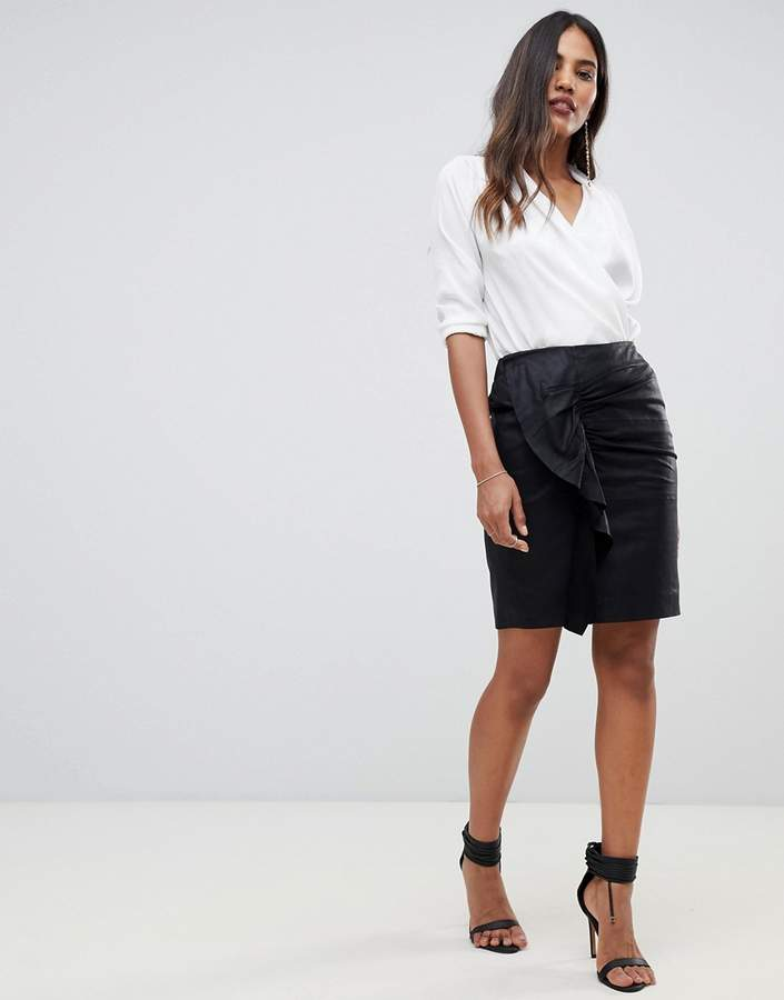 Y.A.S Ruched Detail Leather Mini Skirt
