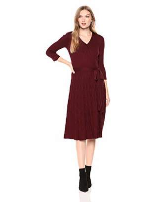 Gabby Skye Women's 3/4 Sleeve V-Neck Faux Wrap Sweater Fit and Flare Dress