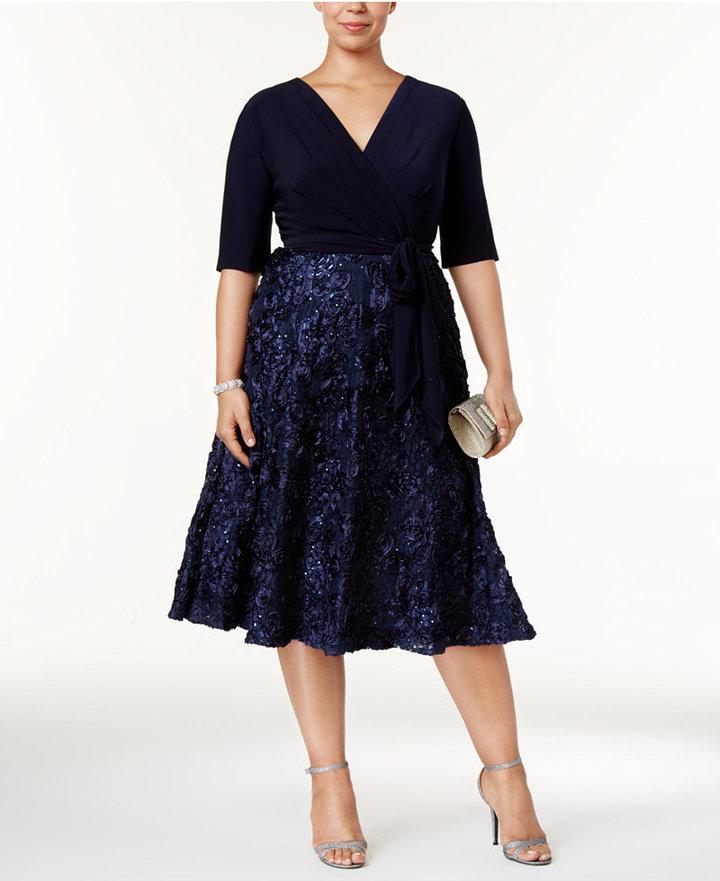 Alex EveningsAlex Evenings Plus Size Sequined Embroidered Tea-Length Dress