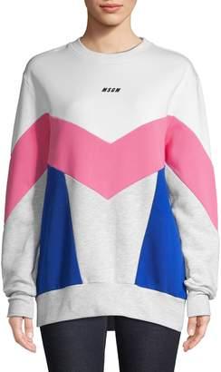 MSGM Colourblock Long Sleeve Crew Neck Sweatshirt