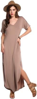 Meaneor Women Short Sleeve Pocket Casual Loose Fit Shift Long Maxi Dress M