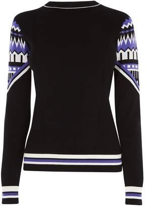 355480aff Next Womens Karen Millen Black Colour Fairisle Pattern Knit Jumper