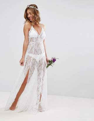 Asos Design DESIGN BRIDAL Beach Lace Maxi Dress