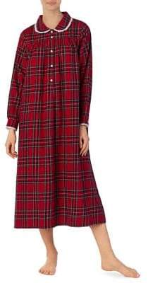 Lanz Plus Long-Sleeve Flannel Night Gown