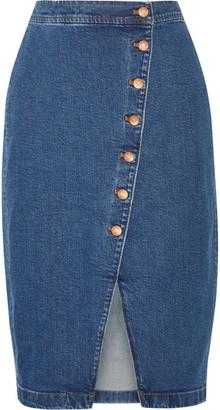 Madewell - Stretch-denim Wrap Skirt - Mid denim $90 thestylecure.com