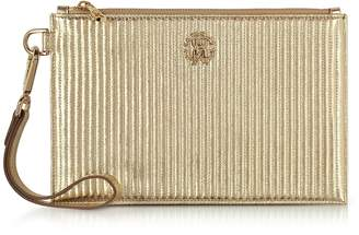 Roberto Cavalli Platinum Gold Laminated Quilted Nappa Leather Zip Clutch