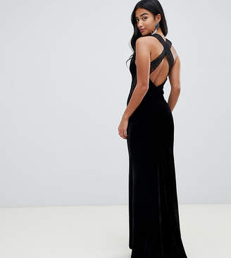 TFNC Petite velvet maxi dress with cross back and inserted lace in black