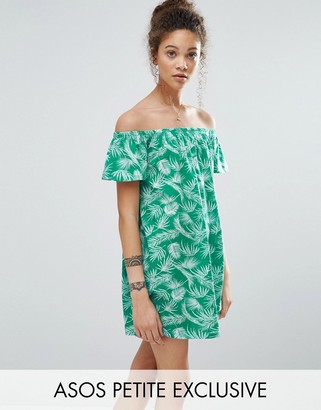 ASOS Petite ASOS PETITE Bardot Off Shoulder Dress in Palm Print $31 thestylecure.com