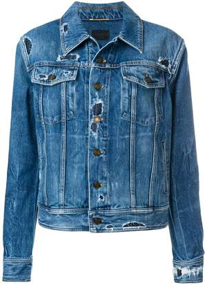 Saint Laurent distressed effect denim jacket