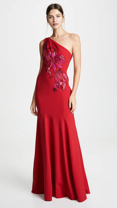 Marchesa One Shoulder Gown with Beaded Appliques