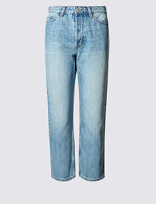 M&S Collection Mid Rise Cropped Straight Leg Jeans