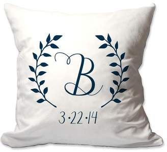 Laurèl 4 Wooden Shoes Personalized Initial and Date Wreath Throw Pillow