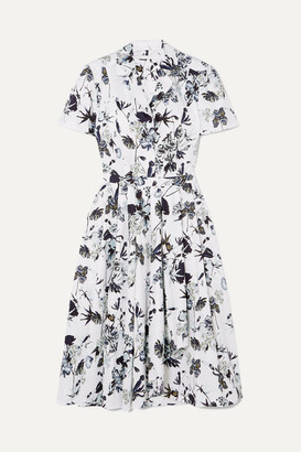 Jason Wu Collection - Pleated Floral-print Cotton-poplin Dress - White