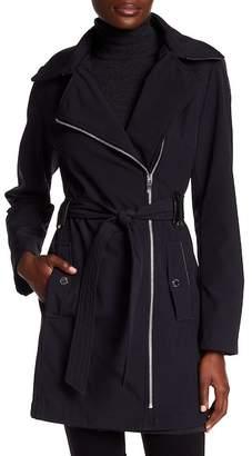 Via Spiga Asymmetrical Collar Belted Hooded Coat