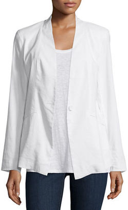 Eileen Fisher Angled Front Linen-Stretch Jacket, Plus Size $318 thestylecure.com