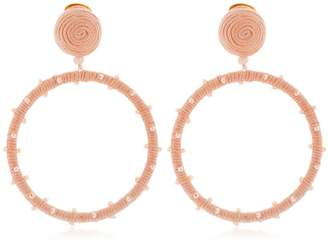 Oscar de la Renta Dotted Beaded Hoop Earrings