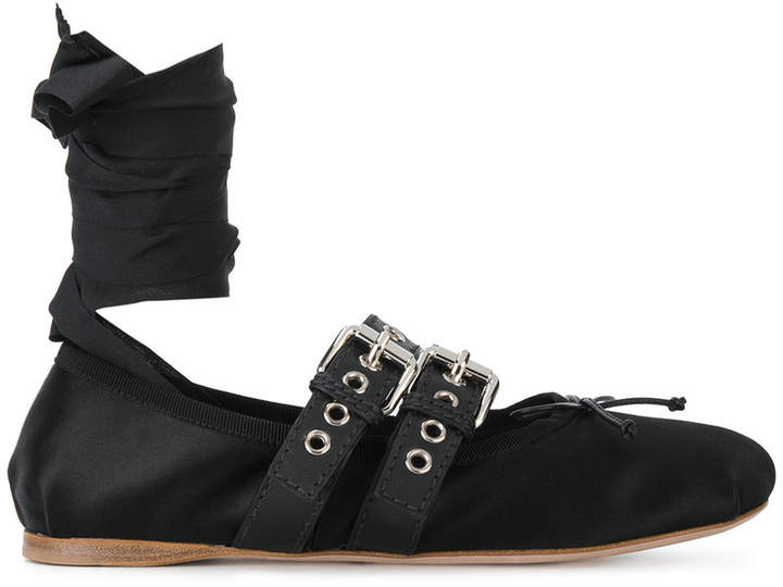 Miu Miu buckled ballerina shoes