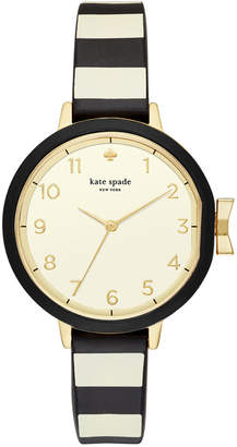 Kate Spade Women's Park Row Black & Ivory Striped Silicone Strap Watch 34mm KSW1313