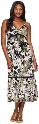 CeCe Sleeveless V-Neck Soft Palms All Over Maxi Dress Women's Dress