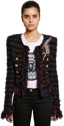 Balmain Fringed Tweed Blazer W/ Patch