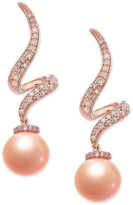Macy's Pink Cultured Freshwater Pearl (7-1/2 mm) & Diamond (1/4 ct. t.w.) Swirl Drop Earrings in 14k Rose Gold