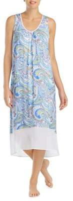 Ellen Tracy Paisley-Print Sleeveless Nightgown