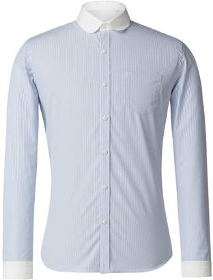 Gibson Men's Blue And White Stripe Penny Round Shirt