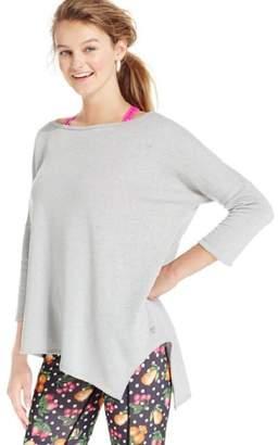 Betsey Johnson Women's 3⁄4 Sleeve Acid Wash Asymmetrical Hem Fleece Top