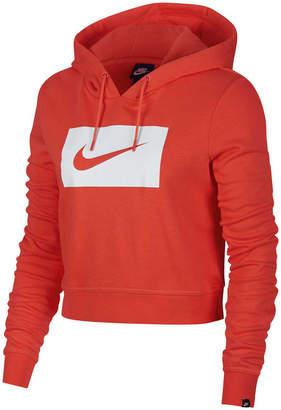 Nike Womens Cropped Sportswear Hoodie Coral XL