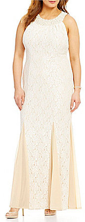 CachetCachet Plus Beaded Lace Empire Gown