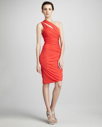 Halston Ruched Slit-Shoulder Dress