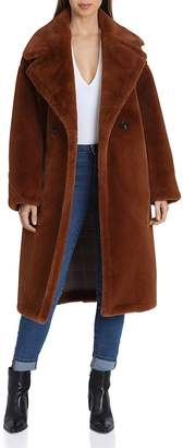 AVEC LES FILLES Oversized Double-Breasted Front Teddy Bear Coat